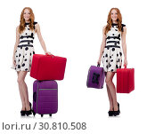 Купить «Beautiful woman in polka dot dress with suitcases isolated on wh», фото № 30810508, снято 25 февраля 2020 г. (c) Elnur / Фотобанк Лори