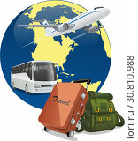 Plane and bus on the background of the globe with a backpack and suitcase. Journeys. Стоковая иллюстрация, иллюстратор Ирина / Фотобанк Лори