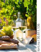 Купить «Tasty cheese, wine, grapes and bread on table in vineyards», фото № 30811136, снято 23 мая 2019 г. (c) Яков Филимонов / Фотобанк Лори