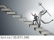 Купить «Businessman with alter ego climbing career ladder», фото № 30811340, снято 16 октября 2019 г. (c) Elnur / Фотобанк Лори