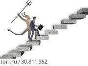 Купить «Businessman with alter ego climbing career ladder», фото № 30811352, снято 24 июля 2019 г. (c) Elnur / Фотобанк Лори