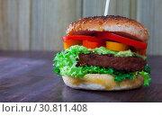 Купить «Veggie burger with soybean rissole», фото № 30811408, снято 20 января 2020 г. (c) Яков Филимонов / Фотобанк Лори