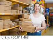 Купить «Laughing girl with gift boxes», фото № 30811468, снято 19 апреля 2017 г. (c) Яков Филимонов / Фотобанк Лори