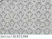 Купить «A beautiful horizontal texture of part of a white brick wall with pattern on the photo», фото № 30813944, снято 16 февраля 2020 г. (c) Татьяна Куклина / Фотобанк Лори