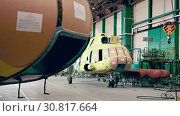 Купить «Helicopter aviation plant industry making», видеоролик № 30817664, снято 24 мая 2019 г. (c) Mark Agnor / Фотобанк Лори