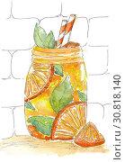 Купить «Watercolor painting Lemonade», иллюстрация № 30818140 (c) Любовь Назарова / Фотобанк Лори