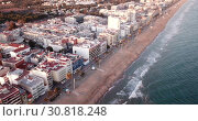 Купить «Picturesque view of Calafell cityscape with famous sand beach on Mediterranean, Spain», видеоролик № 30818248, снято 10 марта 2019 г. (c) Яков Филимонов / Фотобанк Лори