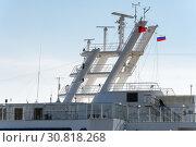 Купить «Upper deck of Cruise Liner Norwegian Jewel, radar, radio navigation equipment», фото № 30818268, снято 10 мая 2019 г. (c) А. А. Пирагис / Фотобанк Лори