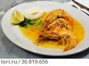 Купить «dish with prawns», фото № 30819656, снято 20 ноября 2019 г. (c) Яков Филимонов / Фотобанк Лори