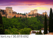Купить «towers of Alcazaba at Alhambra. Granada, Spain», фото № 30819692, снято 13 мая 2016 г. (c) Яков Филимонов / Фотобанк Лори