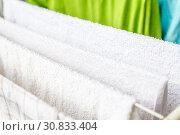 Купить «White and colored linen and towels to be dried on the clothesline», фото № 30833404, снято 2 октября 2018 г. (c) Tetiana Chugunova / Фотобанк Лори