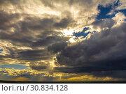 Купить «Heavy gray clouds obscured the sun.», фото № 30834128, снято 28 мая 2018 г. (c) Акиньшин Владимир / Фотобанк Лори