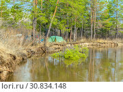 Купить «Spring landscape. Tourist camp on the banks of the river during the spring flood.», фото № 30834148, снято 22 апреля 2018 г. (c) Акиньшин Владимир / Фотобанк Лори