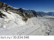 Купить «GREENLAND Violin Glacier - April 5, 2014: Meltwater channels from the previous summer and terminus of Violingletscher (Violin Glacier) in Ã. stgrønland...», фото № 30834948, снято 5 апреля 2014 г. (c) age Fotostock / Фотобанк Лори