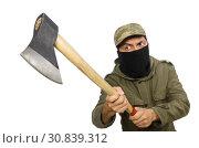 Купить «Criminal wearing mask isolated on white», фото № 30839312, снято 19 декабря 2014 г. (c) Elnur / Фотобанк Лори