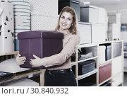 Купить «Young woman choosing soft pouf in modern home furnishings store», фото № 30840932, снято 15 января 2018 г. (c) Яков Филимонов / Фотобанк Лори
