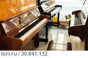 Купить «Classical musical instruments in a store», фото № 30841132, снято 16 апреля 2019 г. (c) Яков Филимонов / Фотобанк Лори