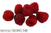 Купить «Close up of ripe red raspberries on white surface, no people», фото № 30841148, снято 22 августа 2019 г. (c) Яков Филимонов / Фотобанк Лори