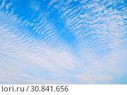 Купить «Dramatic sky background with colorful clouds - colorful sky panorama», фото № 30841656, снято 18 октября 2018 г. (c) Зезелина Марина / Фотобанк Лори