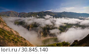 Aerial panoramic view to Colca canyon from the Tunturpay viewpoint, Chivay, Arequipa, Peru (2018 год). Стоковое фото, фотограф Сергей Майоров / Фотобанк Лори
