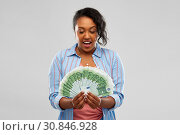 Купить «surprised african american woman with euro money», фото № 30846928, снято 2 марта 2019 г. (c) Syda Productions / Фотобанк Лори