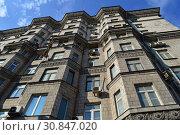 Купить «Десятиэтажный четырёхподъездный кирпичный жилой дом (построен в 1956 году). Улица Беговая, 5. Район Беговой. Город Москва», эксклюзивное фото № 30847020, снято 9 марта 2015 г. (c) lana1501 / Фотобанк Лори