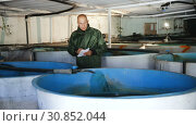 Купить «Male fish farm worker checking trout growth in fish breeding incubator», видеоролик № 30852044, снято 12 апреля 2019 г. (c) Яков Филимонов / Фотобанк Лори