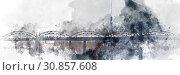 Купить «Panoramic image digital watercolor painting of a Railway bridge over the Daugava river. Riga, Latvia», иллюстрация № 30857608 (c) Alexander Tihonovs / Фотобанк Лори
