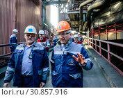 NRW Economics Minister Andreas Pinkwart visits ThyssenKrupp Steel, Duisburg, Ruhr region, North Rhine-Westphalia, Germany, Europe (2019 год). Редакционное фото, агентство Caro Photoagency / Фотобанк Лори