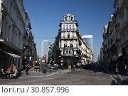 Brussels, Brussels-Capital Region, Belgium - Rue de lEnseignement and Rue de la Croix de Fer in the centre of Brussels. (2019 год). Редакционное фото, агентство Caro Photoagency / Фотобанк Лори