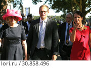 Hoppegarten, Germany, Tini Graefin Rothkirch, Michael Mueller (SPD), Governing Mayor of Berlin and his wife Claudia (from left) (2018 год). Редакционное фото, агентство Caro Photoagency / Фотобанк Лори