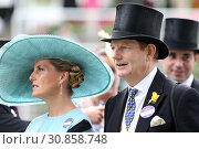 Купить «Royal Ascot, Portrait of HRH Sophie, the Countess of Wessex and the Earl of Derby», фото № 30858748, снято 20 июня 2018 г. (c) Caro Photoagency / Фотобанк Лори