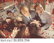 Купить «Businesspeople frightening with blood splatter effect», фото № 30859704, снято 29 января 2019 г. (c) Яков Филимонов / Фотобанк Лори