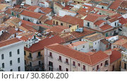 Panoramic view of the roofs of the old town of Cefalu, Italy. Cefalu is one of the major tourist attractions in the Sicily region, Italy (2019 год). Стоковое видео, видеограф Алексей Кузнецов / Фотобанк Лори