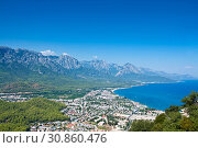 View Kemer from mountain. Antalya Province, Turkey (2018 год). Стоковое фото, фотограф Наталья Двухимённая / Фотобанк Лори