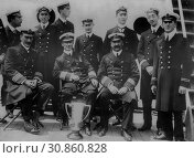 Купить «USA New York -- 29 May 1912 -- Captain Arthur Henry Rostron and junior officers of the RMS CARPATHIA - a cruise ship which rescued many of the survivors...», фото № 30860828, снято 25 июня 2019 г. (c) age Fotostock / Фотобанк Лори