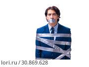 Купить «Tied employee with tape on mouth isolated on white», фото № 30869628, снято 18 декабря 2018 г. (c) Elnur / Фотобанк Лори
