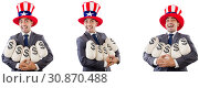 Купить «Man with american hat with moneybags», фото № 30870488, снято 17 июня 2019 г. (c) Elnur / Фотобанк Лори