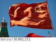 Купить «Государственный флаг СССР (официальный символ СССР) развевается на фоне башни Московского кремля на Красной площади в центре города Москвы», фото № 30882212, снято 19 мая 2019 г. (c) Николай Винокуров / Фотобанк Лори