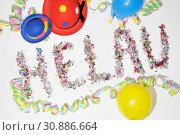 Helau, fastnacht, fasching, karneval, konfetti, bunt, brauch, närrisch, narren, narr, symbol,luftschlange, luftschlangen, luftballon, luftballons. Стоковое фото, фотограф Zoonar.com/Volker Rauch / easy Fotostock / Фотобанк Лори