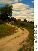Rural road and Russian hut in summer. Стоковое фото, фотограф Александр Клёнов / Фотобанк Лори