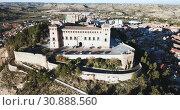 Купить «Aerial view of impressive medieval castle of Order of Calatrava on hill in town of Alcaniz, Spain», видеоролик № 30888560, снято 26 декабря 2018 г. (c) Яков Филимонов / Фотобанк Лори