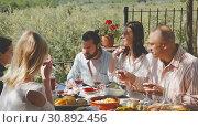 Купить «Friends having lunch on the open-air terrace», видеоролик № 30892456, снято 26 апреля 2019 г. (c) Яков Филимонов / Фотобанк Лори