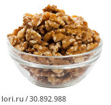 Купить «Glass bowl with walnuts on white», фото № 30892988, снято 23 августа 2019 г. (c) Яков Филимонов / Фотобанк Лори