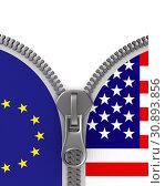 Купить «flag EU and USA and zipper. 3D illustration», иллюстрация № 30893856 (c) Ильин Сергей / Фотобанк Лори