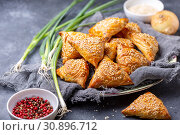 Купить «Samosas with meat sprinkle with sesame seeds», фото № 30896712, снято 9 июня 2019 г. (c) Марина Сапрунова / Фотобанк Лори