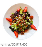 Купить «Top view of salad with candied beans, marinated bacon», фото № 30917400, снято 20 июня 2019 г. (c) Яков Филимонов / Фотобанк Лори