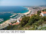 Spanish beach resort Blanes. Costa Brava, Catalonia, Spain. (2013 год). Стоковое фото, фотограф Анна Иноземцева / Фотобанк Лори