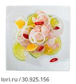 Купить «Ceviche with shrimps, lime, orange», фото № 30925156, снято 24 августа 2019 г. (c) Яков Филимонов / Фотобанк Лори