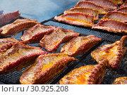 Купить «pork ribs preparing on grill brazier», фото № 30925208, снято 30 апреля 2017 г. (c) Яков Филимонов / Фотобанк Лори